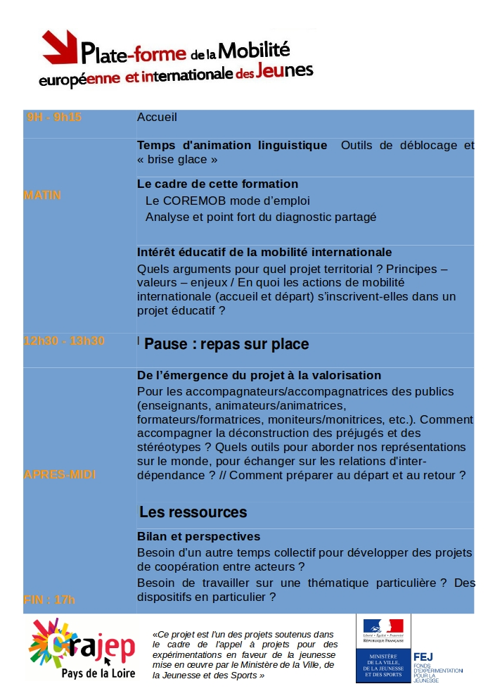 Programme formation 7 mars Le Mans